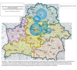 Карта покрытия цифрового эфирного DVB-T2 телевидения в Беларуси